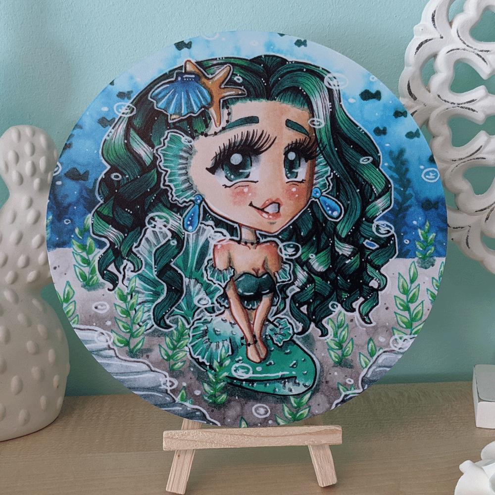 """Wandbild """"Green Mermaid Chibi"""""""